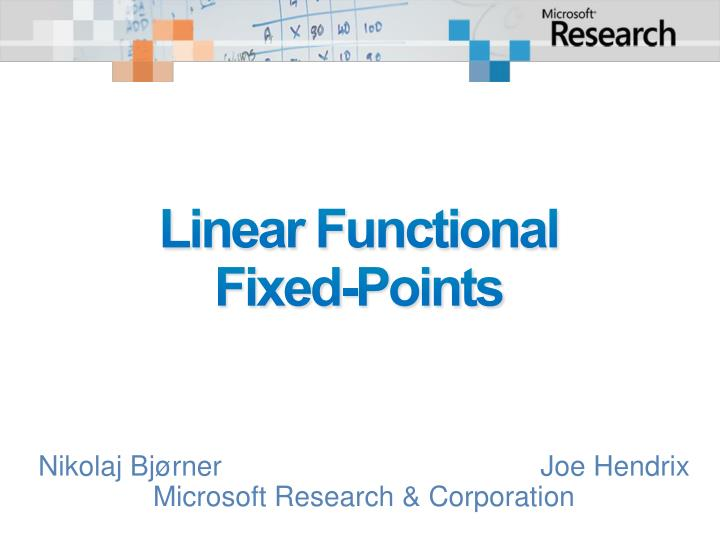 linear functional fixed points n.