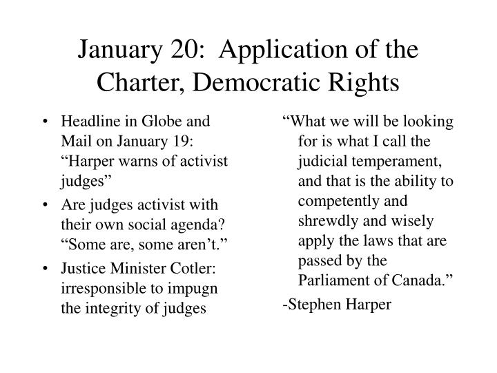 january 20 application of the charter democratic rights n.