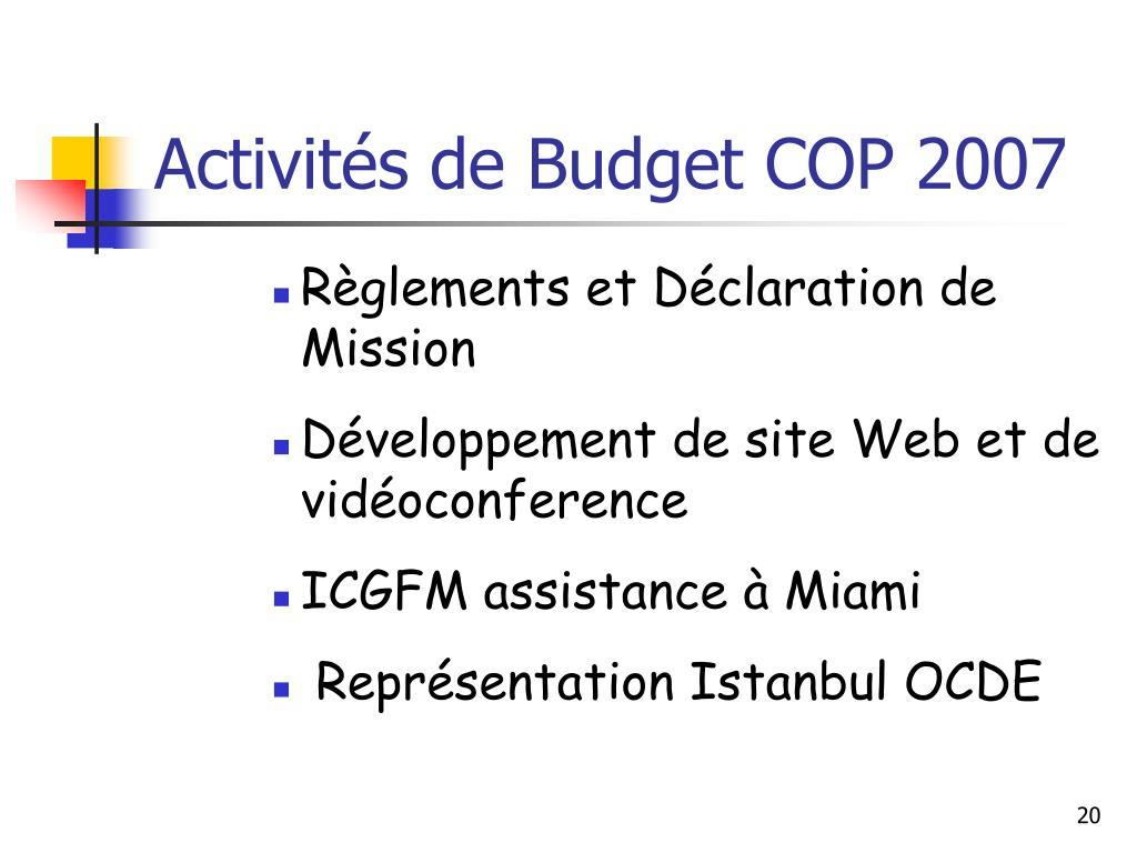 Activités de Budget COP 2007