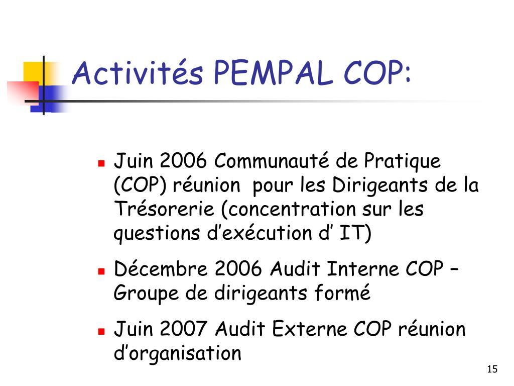 Activités PEMPAL COP: