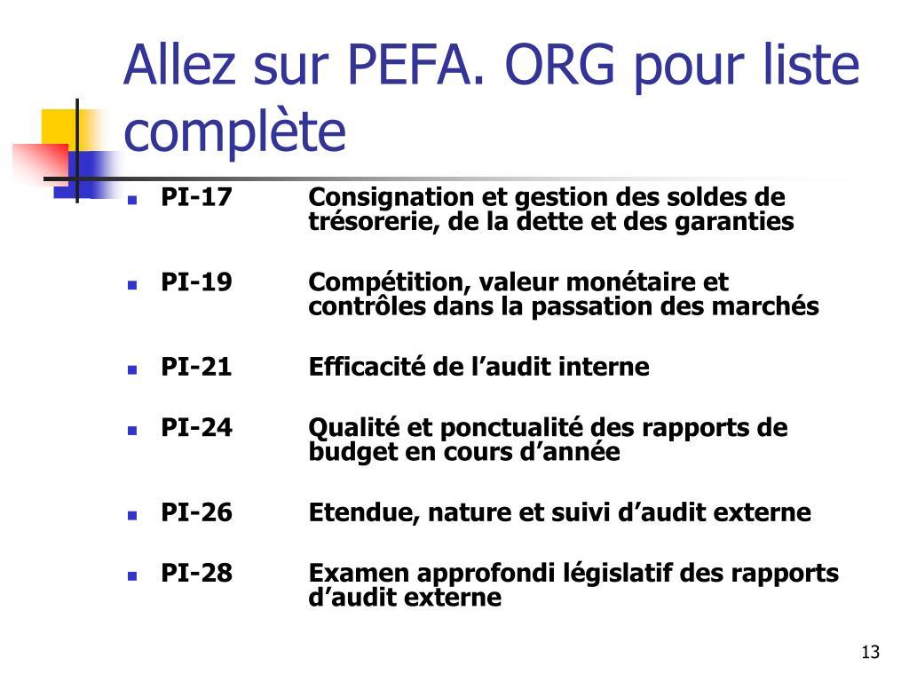 Allez sur PEFA. ORG pour liste complète