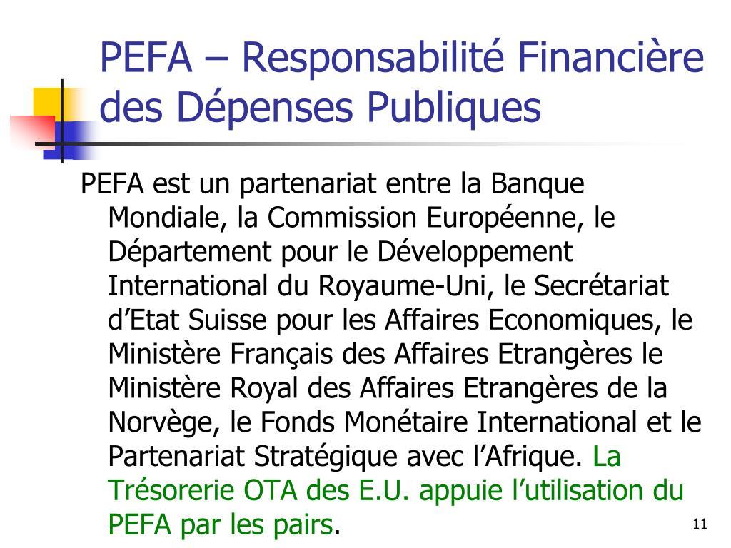 PEFA – Responsabilité Financière des Dépenses Publiques