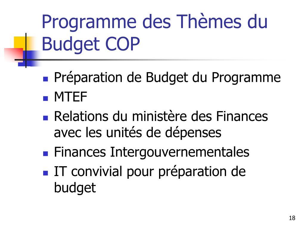 Programme des Thèmes du Budget COP