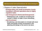 behavioral considerations in job design
