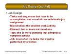 job design cont d