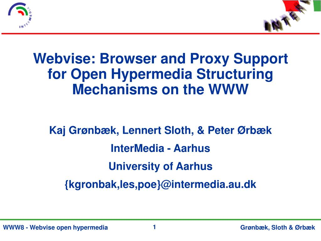 webvise browser and proxy support for open hypermedia structuring mechanisms on the www l.