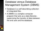 database versus database management system dbms