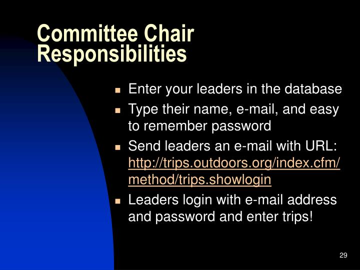 Committee Chair Responsibilities