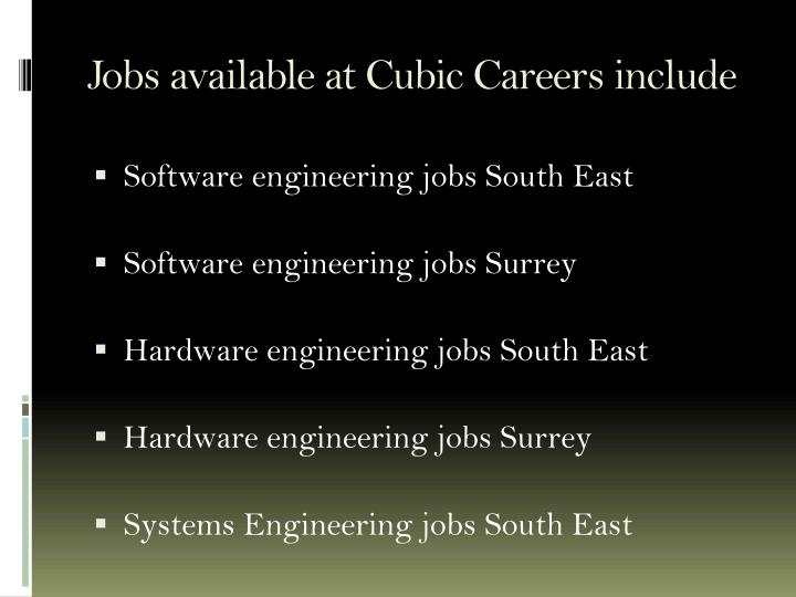 Jobs available at cubic careers include