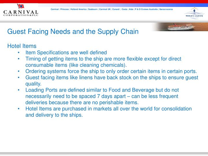 Guest Facing Needs and the Supply Chain