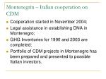 montenegrin italian cooperation on cdm