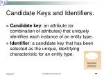 candidate keys and identifiers