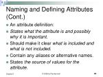 naming and defining attributes cont