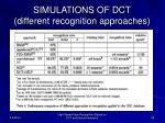 simulations of dct different recognition approaches