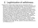 2 legitimization of selfishness