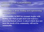 leadership on sustainability campus