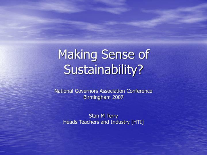 making sense of sustainability n.