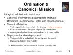 ordination canonical mission