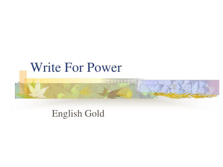 write for power n.