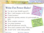 write for power rules