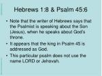 hebrews 1 8 psalm 45 61