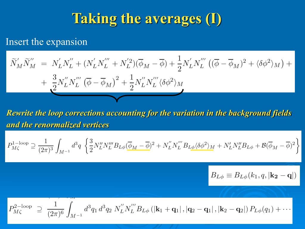 Taking the averages (I)