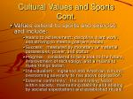 cultural values and sports cont