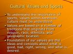 cultural values and sports