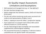 air quality impact assessment limitations and assumptions