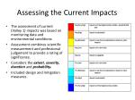 assessing the current impacts