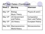 ap test dates continued