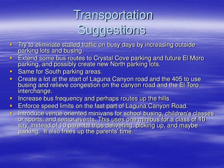 Transportation suggestions