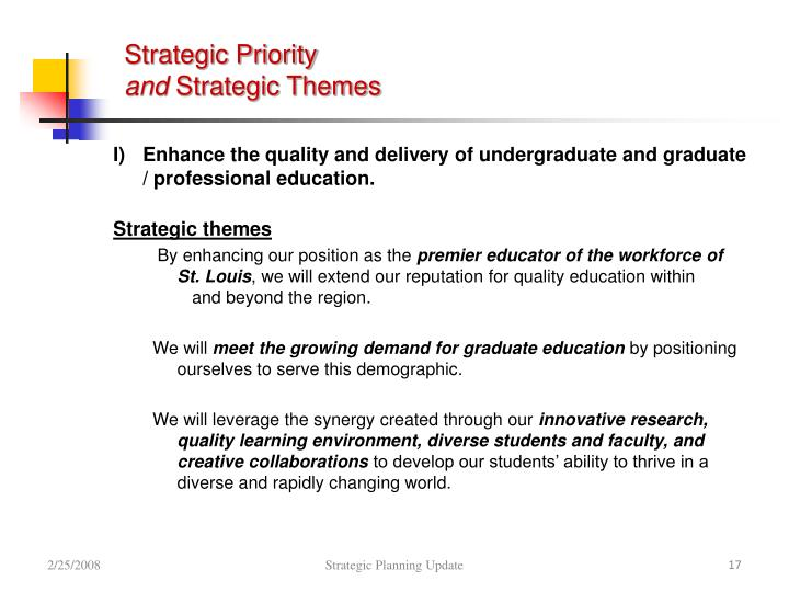 Strategic Priority
