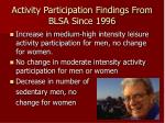 activity participation findings from blsa since 1996