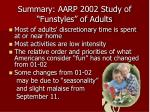summary aarp 2002 study of funstyles of adults