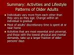 summary activities and lifestyle patterns of older adults