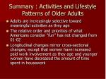 summary activities and lifestyle patterns of older adults1
