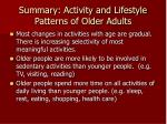 summary activity and lifestyle patterns of older adults