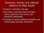 summary activity and lifestyle patterns of older adults1