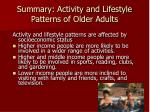 summary activity and lifestyle patterns of older adults4