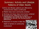 summary activity and lifestyle patterns of older adults5