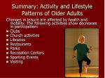summary activity and lifestyle patterns of older adults6