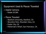 equipment used places traveled