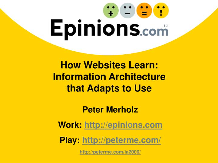 how websites learn information architecture that adapts to use n.