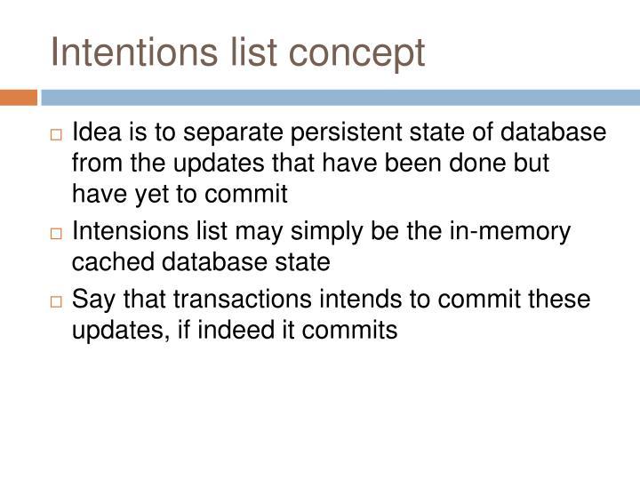 Intentions list concept