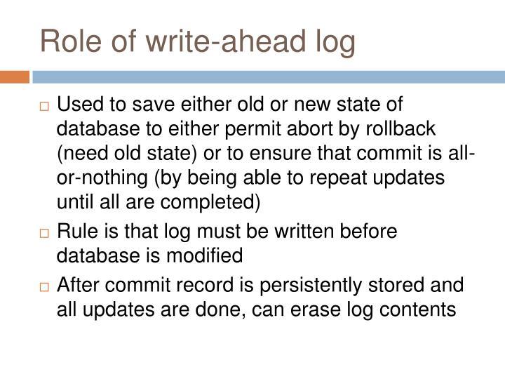 Role of write-ahead log