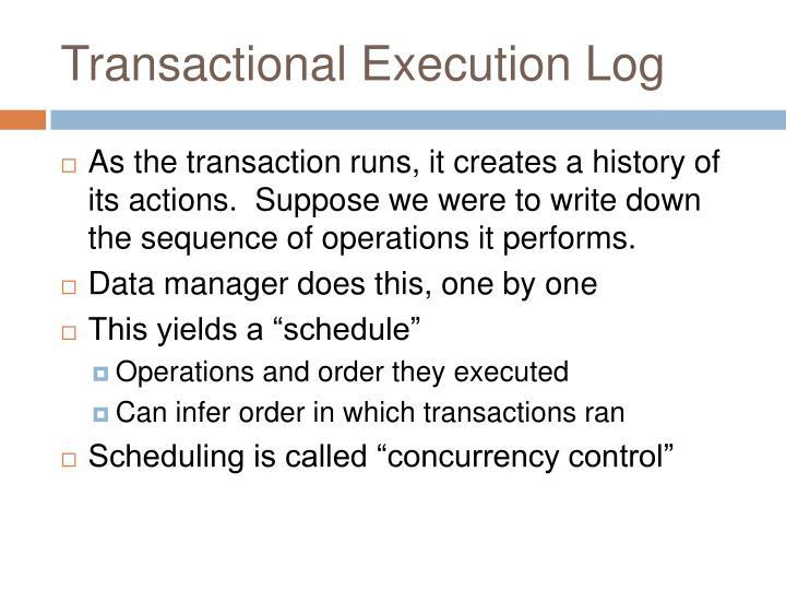 Transactional Execution Log