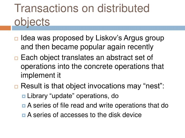 Transactions on distributed objects