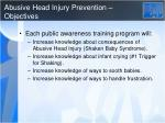 abusive head injury prevention objectives