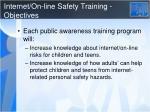 internet on line safety training objectives